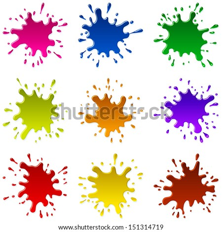 Multicolored blots and splashes of a paint and ink; Set A; Eps-8; Each Paint Splash is the only and unique. - stock vector