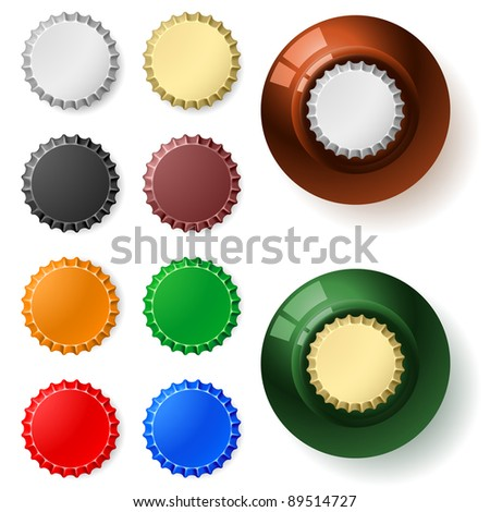 Multicolored  bottle cap.  Illustration on white background - stock vector