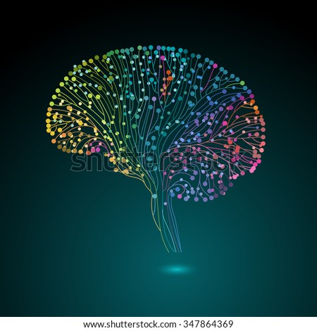Multicolored brain connections, eps10 vector - stock vector