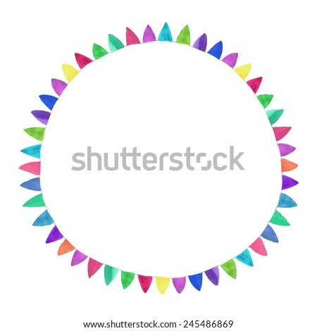 Multicolored bright circle. Watercolor concept on the white background, aquarelle. Vector illustration. Hand-drawn decorative element useful for invitations, scrapbooking, design. Birthday party - stock vector