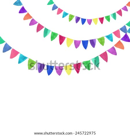 Multicolored bright garlands. Watercolor concept on the white background, aquarelle. Vector illustration. Hand-drawn decorative element useful for invitations, scrapbooking, design. Birthday party - stock vector