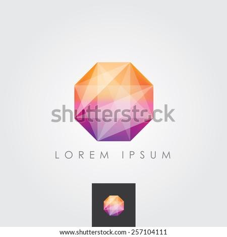 multicolored bright octagon polygon geometric shape logo element - stock vector