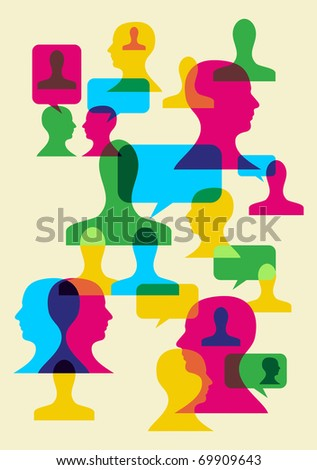 Multicolored bubbles and human heads interaction. Vector file available. - stock vector