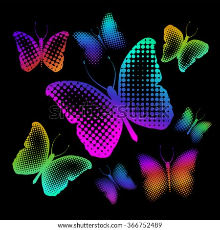 multicolored Butterfly of dot. Vector - stock vector