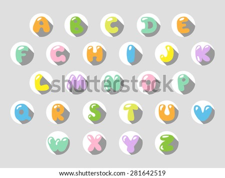 Multicolored Cartoon Vector Font. Set of Isolated letters.  - stock vector