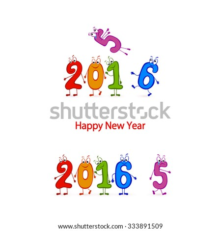 Multicolored characters numbers, Happy New Year 2016, illustration. - stock vector