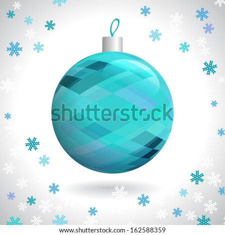 Multicolored Christmas Ball with Pattern of Squares on Background of Snowflakes, Vector Illustration EPS10 - stock vector