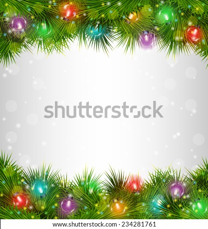 Multicolored Christmas lights on pine branches on grayscale background - stock vector
