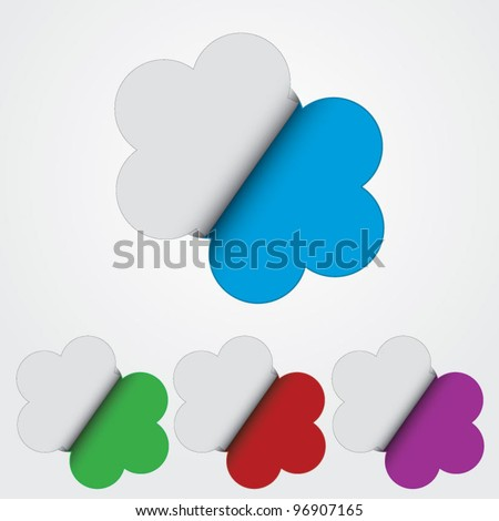 Multicolored collection of nice flower sticker revealing colors