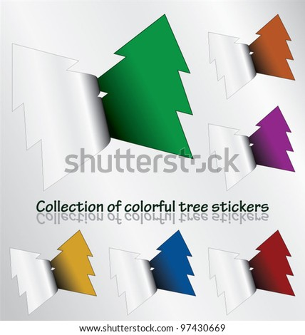 Multicolored collection of tree stickers revealing colorful background