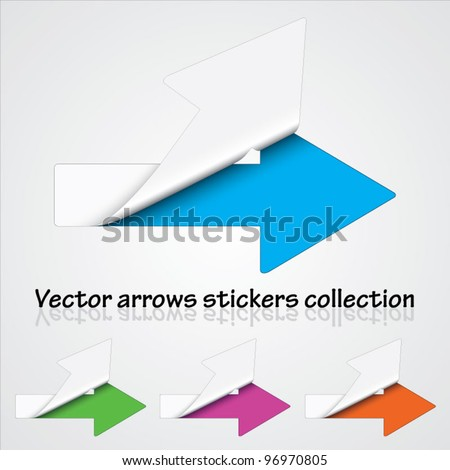 Multicolored collection of vector arrow stickers revealing colorful background - stock vector