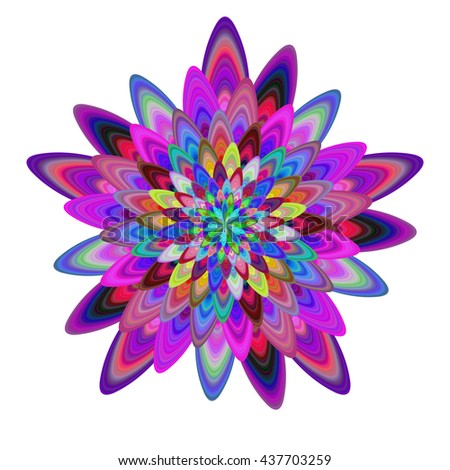 Multicolored computer generated abstract flower fractal design - stock vector