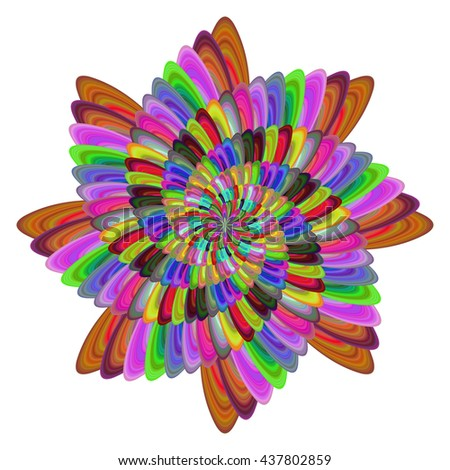 Multicolored computer generated spiral fractal flower design - stock vector