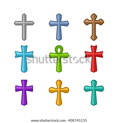 Multicolored crosses. Illustration of crosses. Set of crosses. Crosses isolated on a white background. Different types of crosses. - stock vector