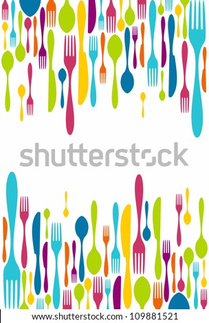 Multicolored cutlery icons background. Vector illustration layered for easy manipulation and custom coloring. - stock vector