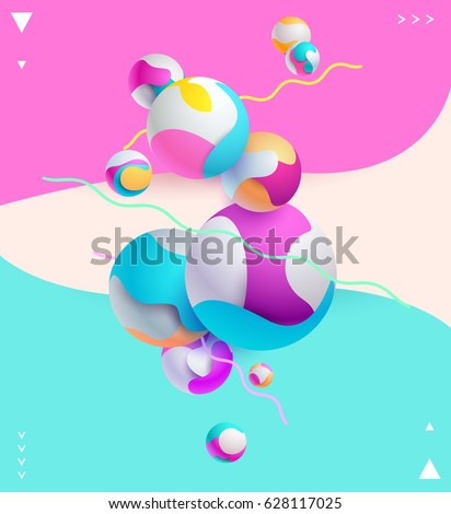 Multicolored decorative background with 3D balls
