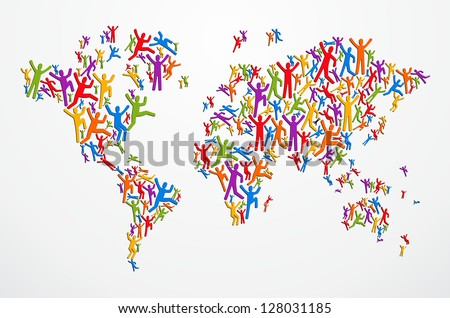 Multicolored diversity people in Globe map shape isolated. Vector file layered for easy manipulation and custom coloring. - stock vector