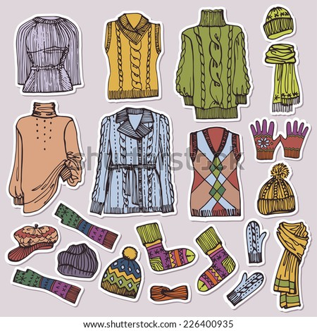 Multicolored Fashionable female knitted clothing and accessories set on Sketchy style.Autumn ,winter,spring woman wear on sticker or label. Autumn ,winter,spring woman fashion Vector. - stock vector