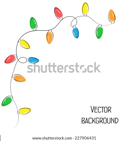 Multicolored flat led Christmas lights garland isolated on white background - stock vector