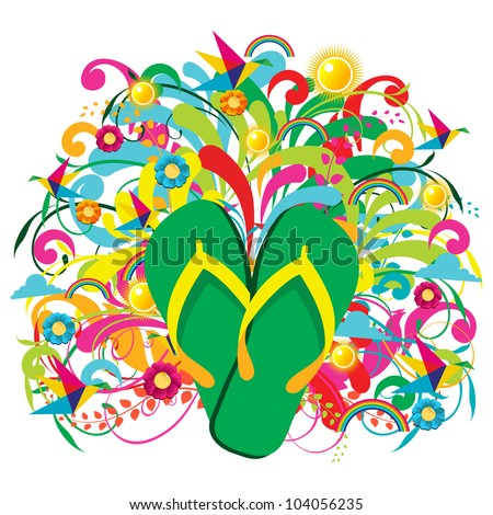 Multicolored Flip flops over summer floral background. Vector file layered for easy manipulation and custom coloring. - stock vector