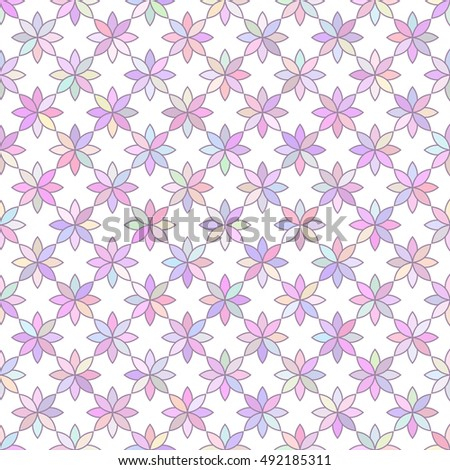 multicolored flowers 1 / Seamless vector pattern of multicolored flowers isolated on white background.