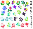 Multicolored flowers set - stock vector