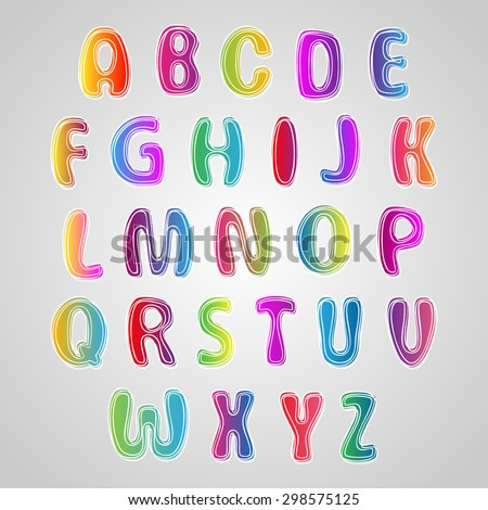 Multicolored Font, set of colorful letters. Alphabet for your Design - stock vector