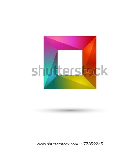 Multicolored frame or square, abstract symbol, eps10 - stock vector
