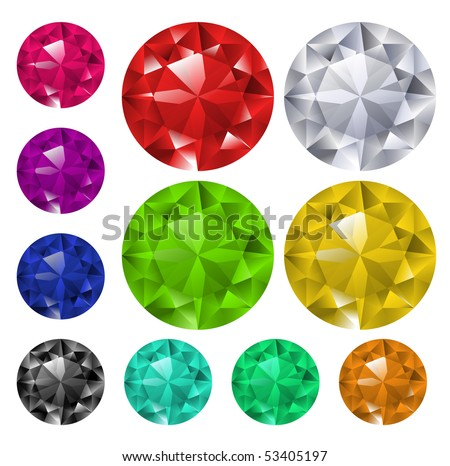 Multicolored gems collection - stock vector