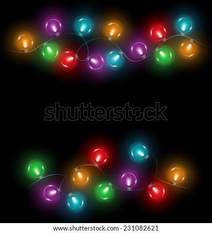 multicolored glassy circle led Christmas lights garlands on black background - stock vector