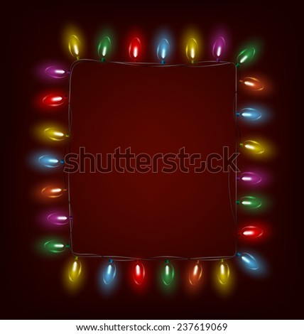 Multicolored glassy led Christmas lights garland like frame on red background - stock vector