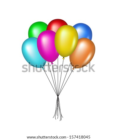 Multicolored glossy balloons - stock vector