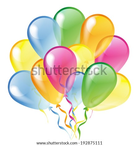 Multicolored glossy balloons isolated on a white background