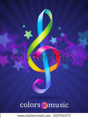 Multicolored glossy ribbons in the shape of treble clef - vector illustration - stock vector