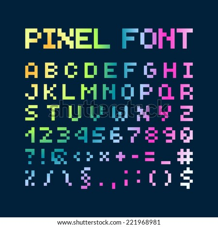 Multicolored Gradient Pixel Font, Isolated Vector Letters And Numbers, Alphabet - stock vector