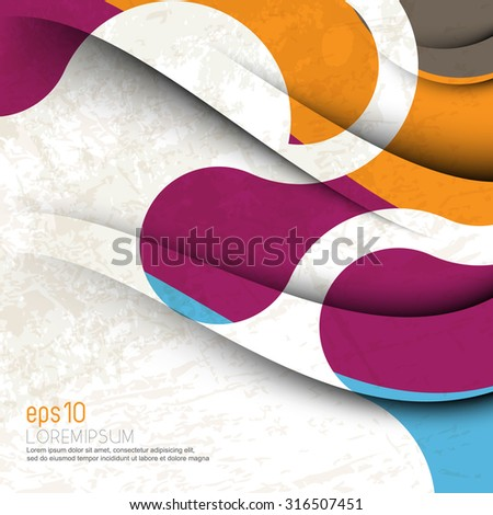 multicolored grunge wave lines elements leaflet brochure texture business background - stock vector