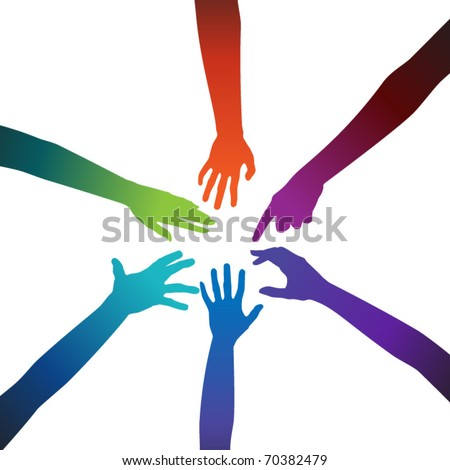 Multicolored hands on a white background - stock vector