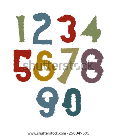 Multicolored handwritten numbers, vector doodle brushed figures, hand-painted set of numbers with brushstrokes. - stock vector