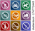 Multicolored icons of prohibition signs.  - stock vector