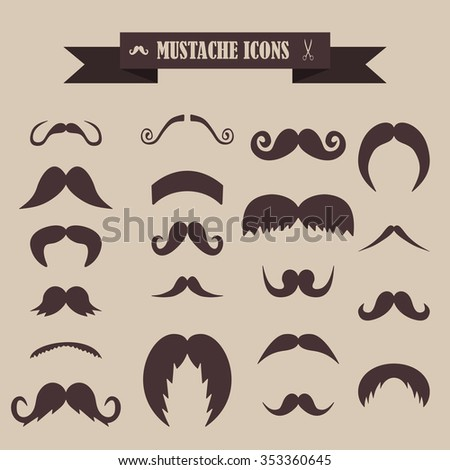 multicolored icons with tape on the topic mustache