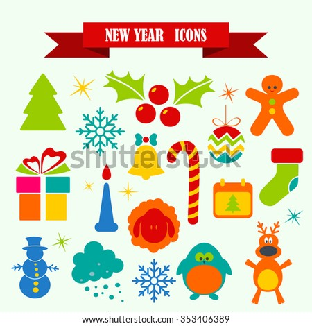 multicolored icons with tape on the topic New Year