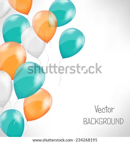 Multicolored inflatable air balls on grayscale background - stock vector