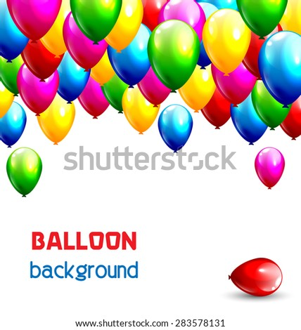 Multicolored inflatable balloons isolated on white background - stock vector