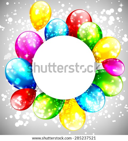 Multicolored inflatable balloons with circle frame on grayscale background - stock vector