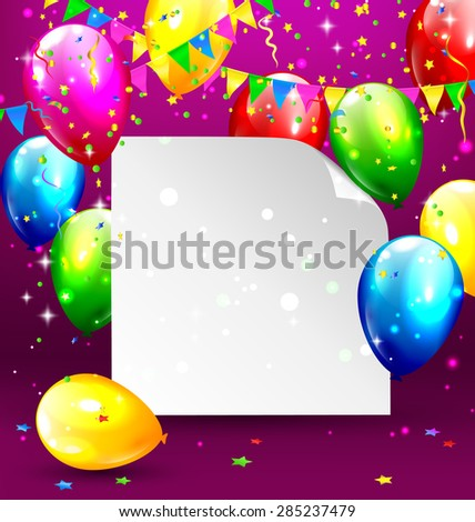 Multicolored inflatable balloons with paper frame buntings and confetti on violet background - stock vector
