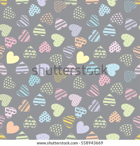 Multicolored love hearts on a gray  background. Vector seamless pattern.