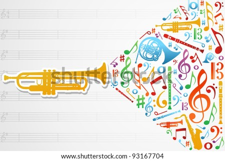 Multicolored music instruments silhouette and elements over pentagram composition background. - stock vector