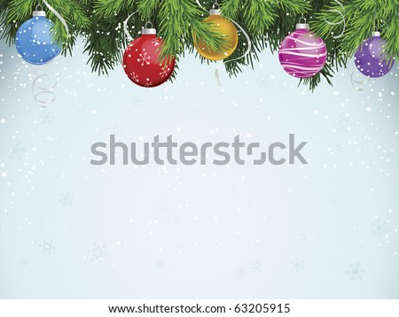 Multicolored ornaments hanging from evergreen branches - stock vector
