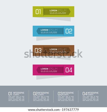 Multicolored paper stickers  with numbers and signs.  for infographic, number banners, graphic or website layout, template for reports, ad, presentation - stock vector