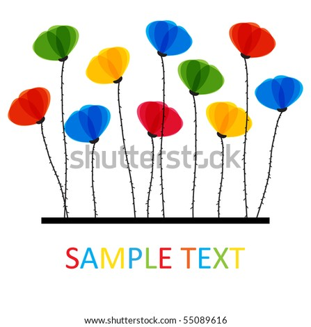 Multicolored Poppy flowers. Design for greeting card - stock vector